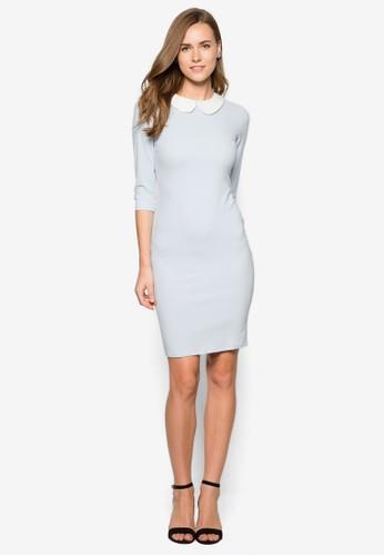 小圓領七分袖貼身連身裙,zalora鞋子評價 服飾, 洋裝