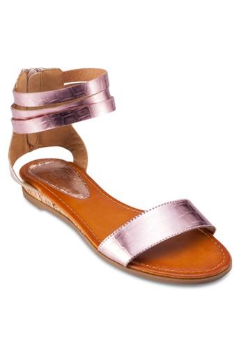 繞zalora鞋子評價踝拉鍊平底涼鞋, 女鞋, 涼鞋