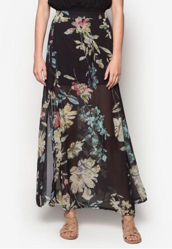 側開衩花卉圖案zalora退貨長裙, 服飾, 長裙