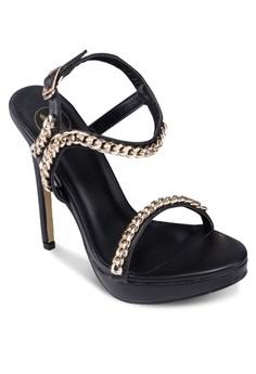 一字帶鏈飾繞踝高跟鞋