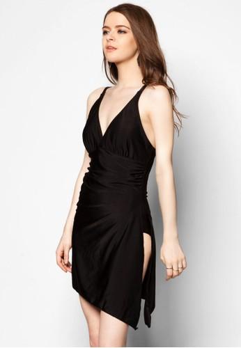 Lulu V 領垂墜連身泳裝, 服飾,zalora鞋 服飾