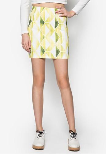 幾何印花鉛筆短裙, zalora 評價服飾, 服飾