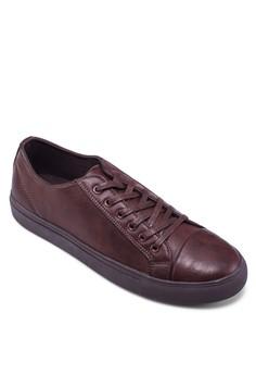 仿皮繫帶平底運動鞋
