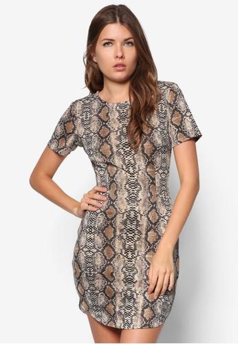 蛇紋短袖洋裝, 服飾,zalora鞋 服飾