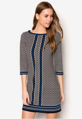 印花直筒連身裙,zalora 鞋評價 服飾, 短洋裝