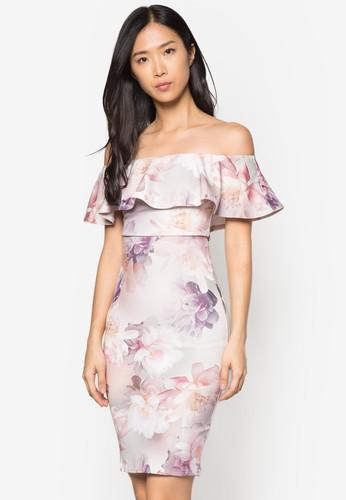 荷葉邊露肩花卉洋裝, 服飾, zalora 評價洋裝