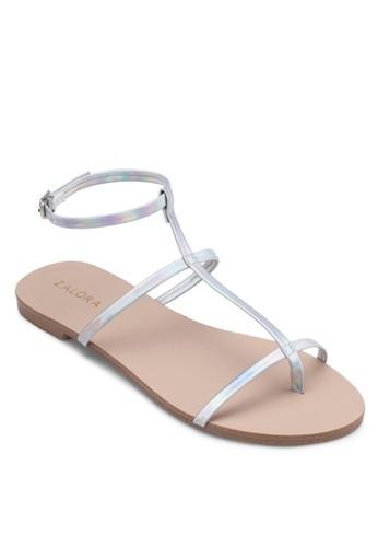 T 字細帶繞踝平底涼鞋, zalora 台灣女鞋, 鞋