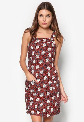 花卉圖案粗肩帶洋裝, 服飾, 夏zalora 台灣日洋裝
