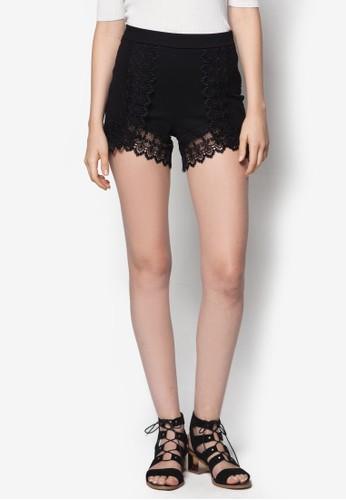 蕾絲滾邊高腰短褲,zalora開箱 服飾, 短褲