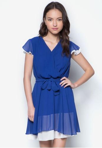 裹飾V 領繫帶層次洋裝, 服飾,zalora 心得 派對洋裝