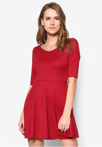 基本款V 領傘擺連身裙, 服飾zalora 心得, 洋裝