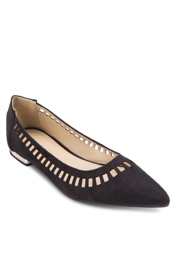 雕花尖頭平底鞋,zalora鞋 女鞋, 鞋