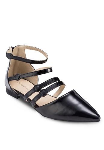 多帶尖頭平底鞋, 女鞋,zalora 鞋評價 鞋