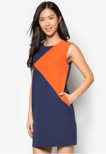 色塊zalora 心得直筒連身裙, 服飾, 正式洋裝
