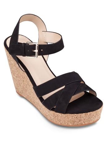 交叉帶繞踝楔型跟zalora退貨鞋, 女鞋, 楔形涼鞋