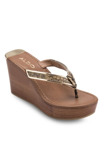 Jeroasien 金屬邊夾腳楔型涼鞋zalora 鞋評價, 女鞋, 楔形涼鞋