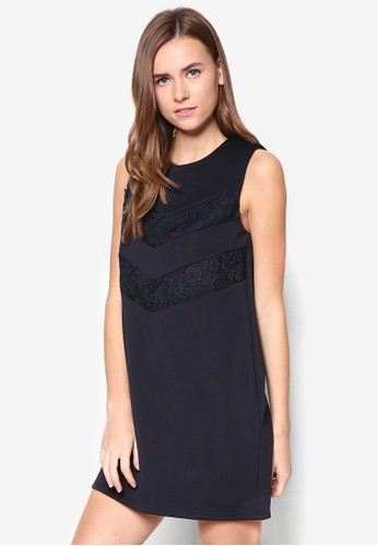 蕾絲拼接直筒連身裙,zalora 包包評價 服飾, 洋裝