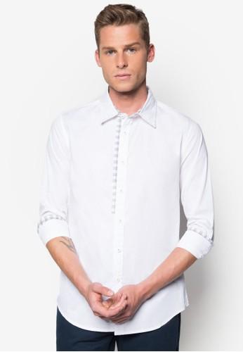格紋邊飾長袖襯衫, 服飾zalora退貨, 素色襯衫