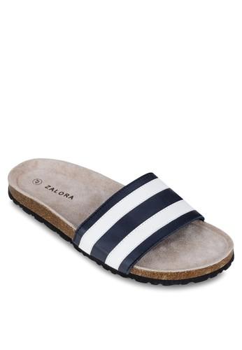 條zalora 衣服尺寸紋寬帶拖鞋, 鞋, 拖鞋