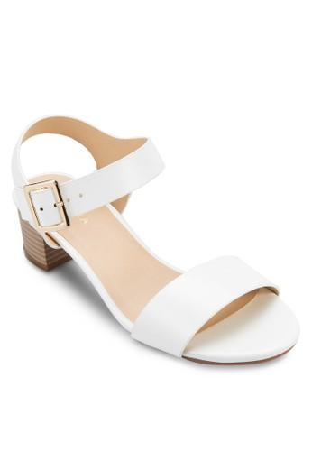一字帶繞踝粗跟涼鞋,zalora 男鞋 評價 女鞋, 低跟