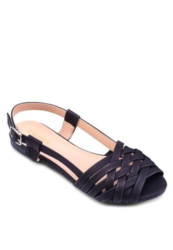 交叉編織魚口平zalora 台灣底涼鞋, 女鞋, 涼鞋