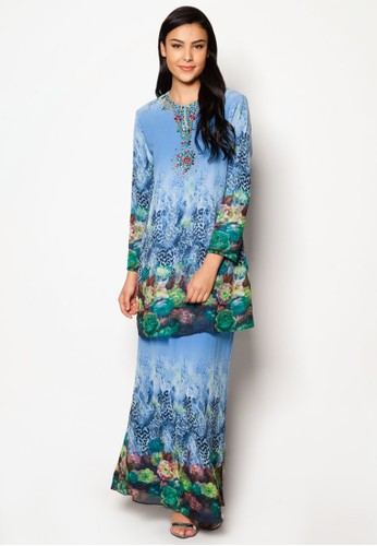Chiffon With Printed Kurung Moden from Jasmina Collection in Blue