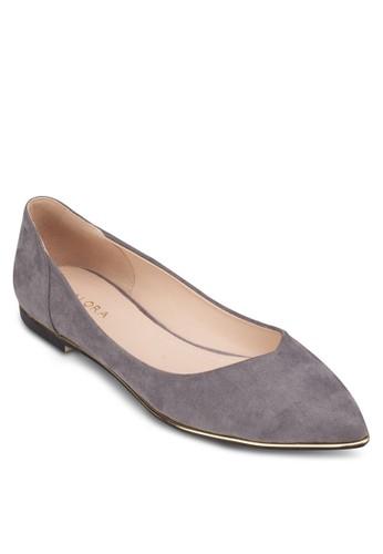 金屬鞋緣zalora退貨尖頭娃娃鞋, 女鞋, 芭蕾平底鞋