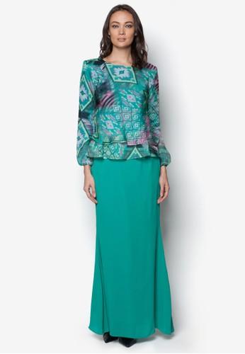 Double Layer Chiffon Midi Kurung from Zuco Fashion in Green
