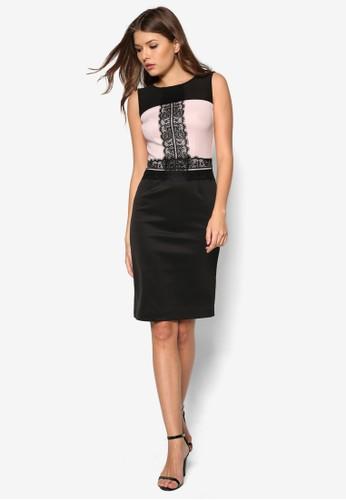 雙色蕾絲鉛筆洋裝, zalora taiwan 時尚購物網鞋子服飾, 洋裝