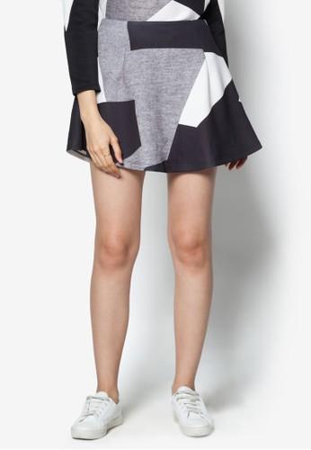 撞色拼接傘擺短裙, 服飾,zalora鞋子評價 裙子