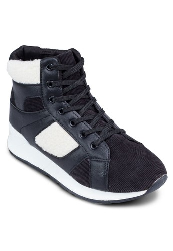 Corduroy 撞色拼接高筒運動鞋,zalora 心得 女鞋, 鞋
