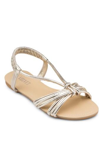亮面彈性踝帶涼鞋, 女鞋,zalora 手錶 鞋