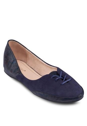 拼接飾帶平底鞋, 女鞋zalora鞋, 芭蕾平底鞋