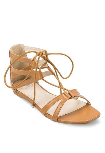 交叉帶繫帶包跟涼鞋, 女鞋, zalora退貨涼鞋