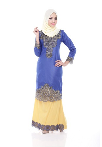 Adira Block Kurung Modern Blue from Maribeli Butik in Yellow and Blue and Silver