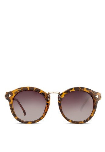 豹紋圓框太陽眼鏡, 飾品配件, 復zalora開箱古框
