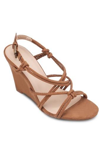 Tubular 交叉zalora 泳衣多帶楔型涼鞋, 女鞋, 楔形涼鞋