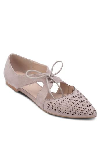 雕花側鏤空尖頭平zalora 心得底鞋, 女鞋, 芭蕾平底鞋
