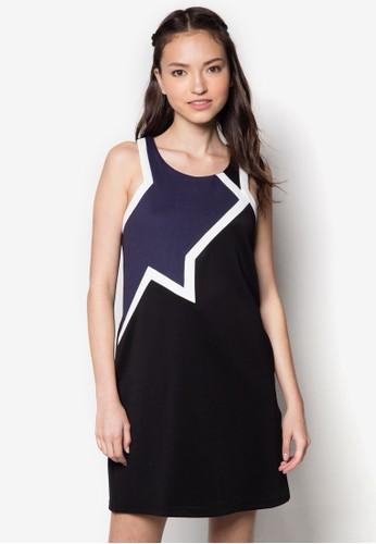 色塊暗紋zalora 評價削肩連身裙, 服飾, 洋裝