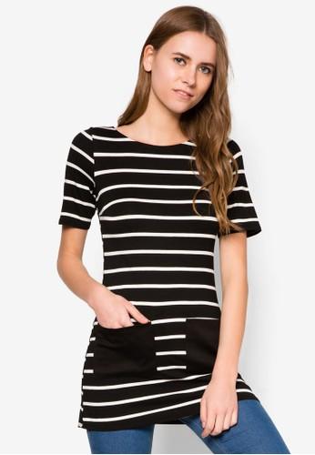 口袋條紋長版上衣, 服飾,zalora時尚購物網評價 服飾