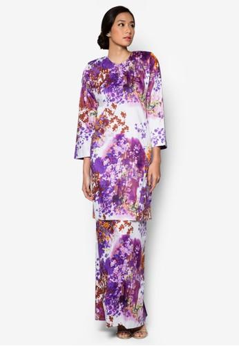 Baju Kurung Pahang Japanese Cotton Olive from Butik Sireh Pinang in Purple