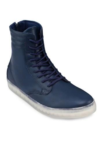 仿皮繫帶拉鍊高筒休閒鞋,zalora 台灣 鞋, 鞋