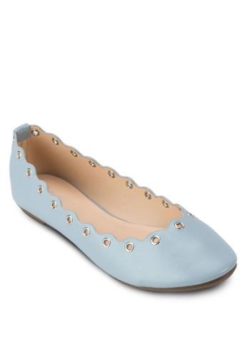 扇貝邊飾金屬孔平底鞋, 女鞋, 芭zalora 評價蕾平底鞋