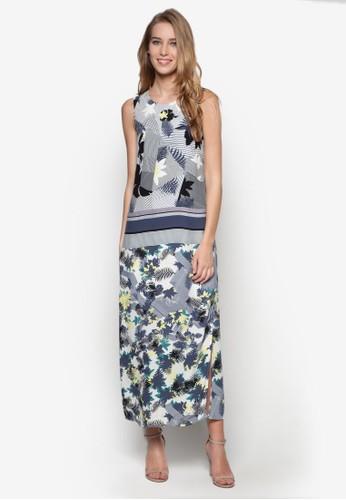 印花側開叉連身長裙, 服zalora退貨飾, 夏日洋裝