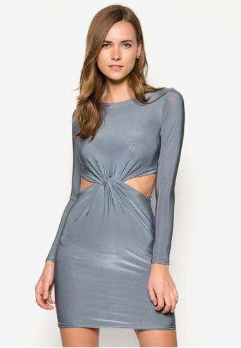 扭結鏤空zalora 評價長袖連身裙, 服飾, 服飾