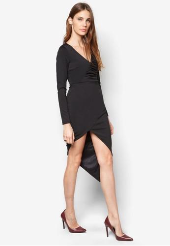抓褶裹飾zalora開箱洋裝, 服飾, 洋裝