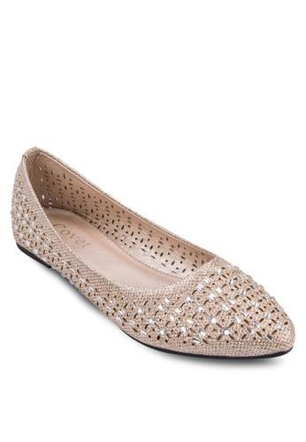 閃飾雕花平zalora 泳衣底鞋, 女鞋, 鞋