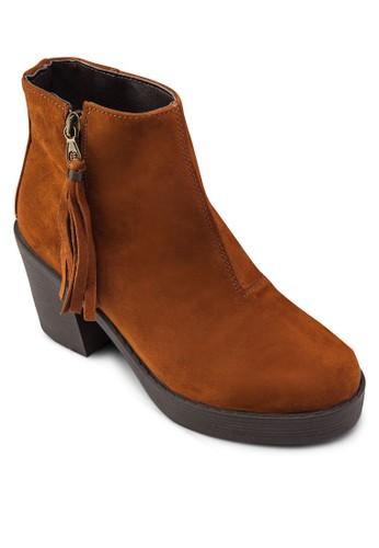 流蘇側拉zalora 心得鍊短靴, 女鞋, 鞋