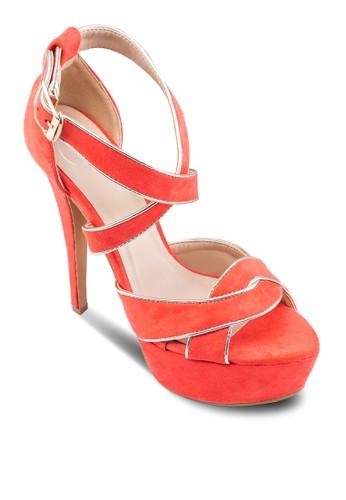 交叉踝帶魚口厚底zalora 包包評價高跟鞋, 女鞋, 高跟鞋