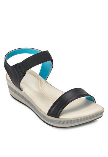 彈性繞踝撞色楔形涼鞋, 女鞋zalora鞋子評價, 鞋